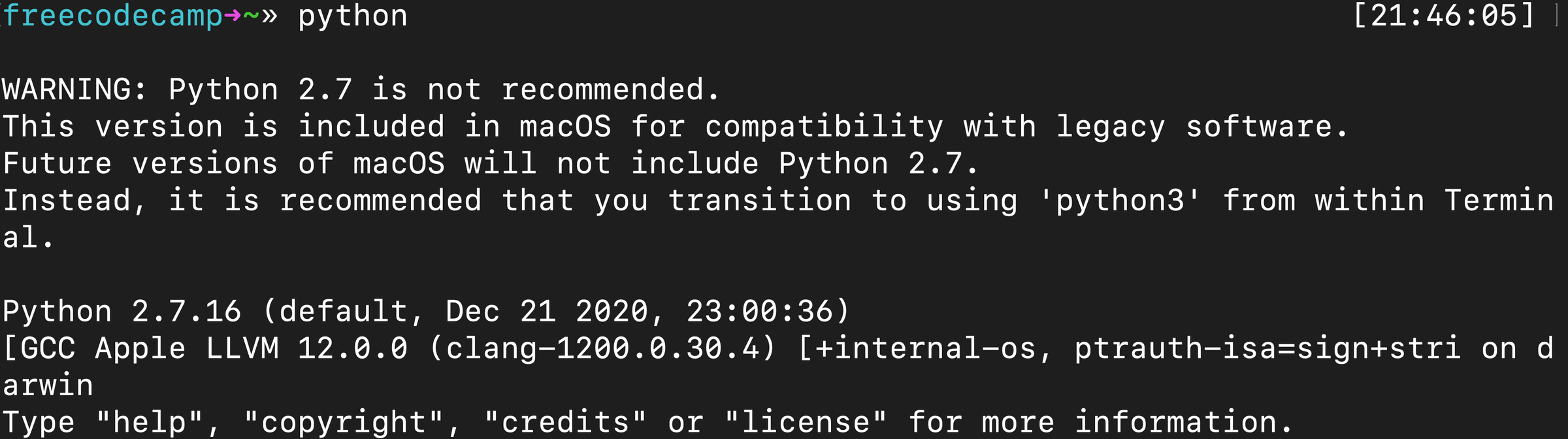 """警告:不推荐使用Python 2.7。这个版本包含在 macOS 中是为了与旧版软件兼容。未来版本的 macOS 将不包含 Python 2.7。相反,我们推荐您在终端中使用""""python3""""。"""